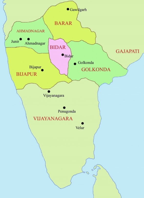 Les 5 sultanats du Deccan au 15ième siècle, monument d'Inde